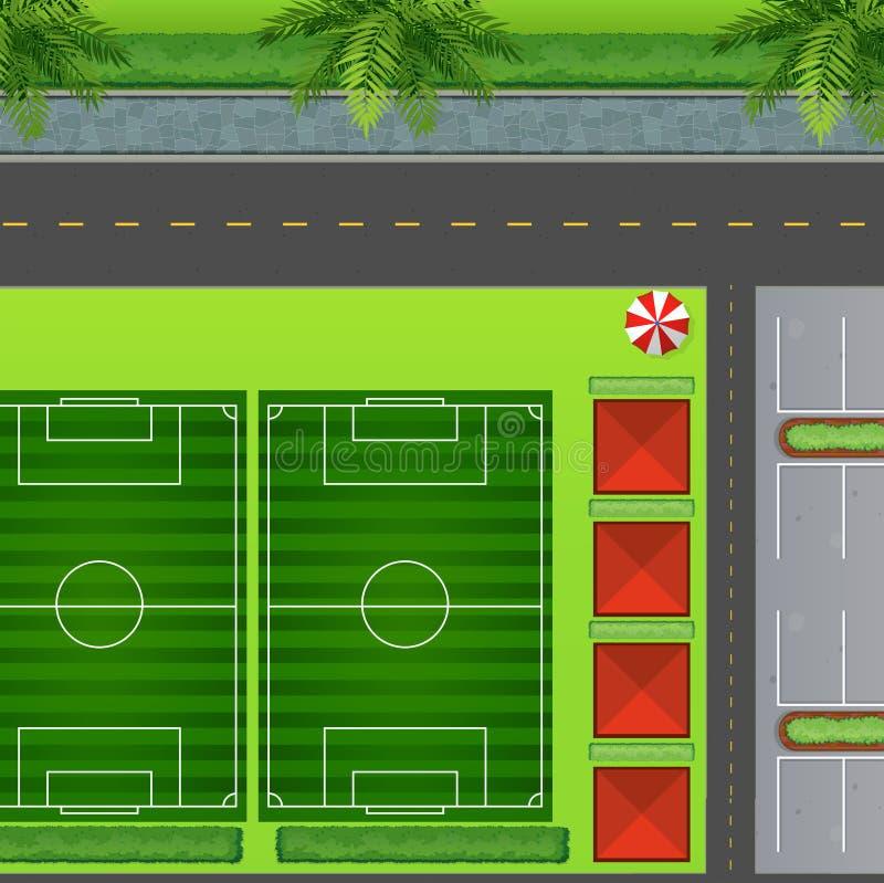 Campos de futebol pelo carpark ilustração stock