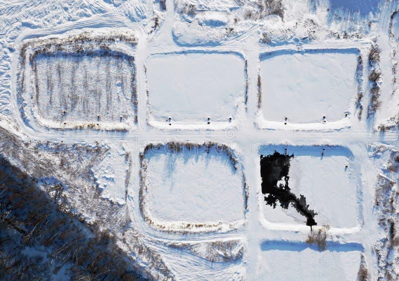 Campos de la aireación en invierno foto de archivo libre de regalías