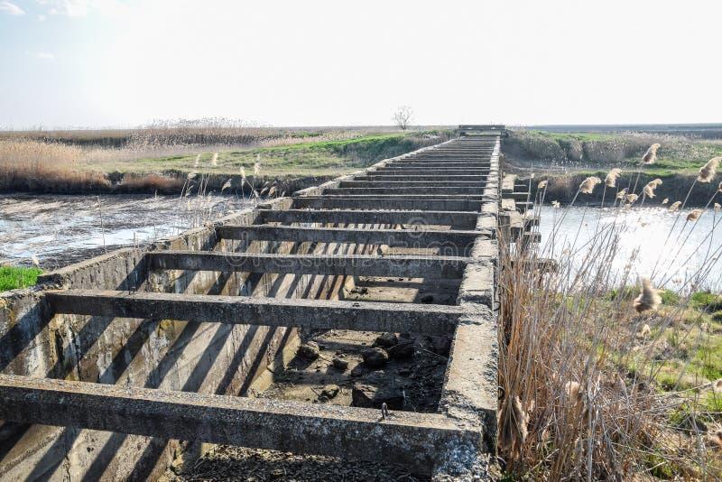 Campos del arroz del sistema de irrigaci?n del canal T?nel concreto para el canal de la irrigaci?n imagen de archivo libre de regalías