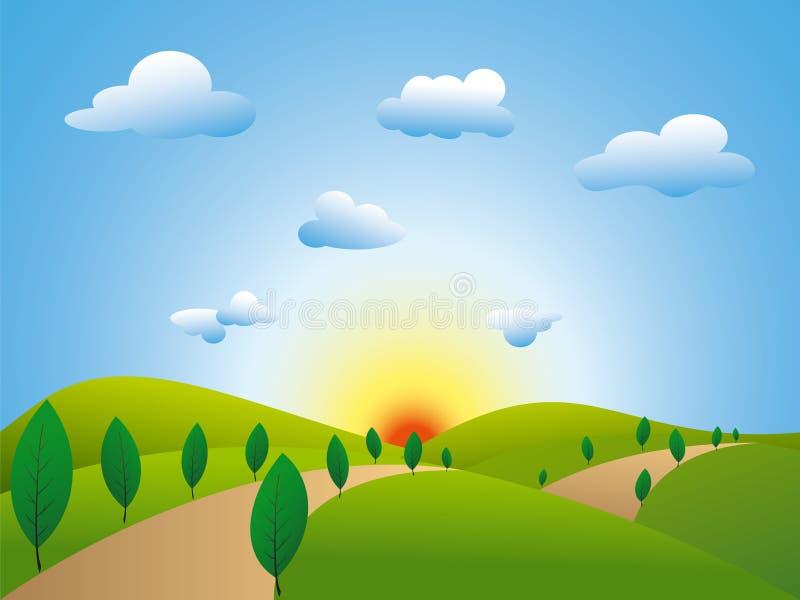 Campos do verde da paisagem da primavera com árvores ilustração do vetor