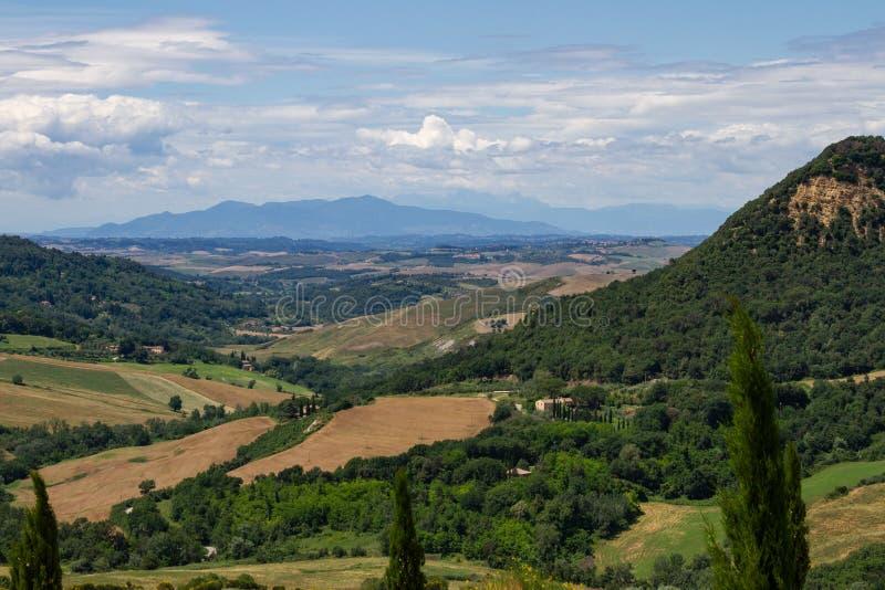 Campos dos montes de Itália Tuscan fotografia de stock royalty free