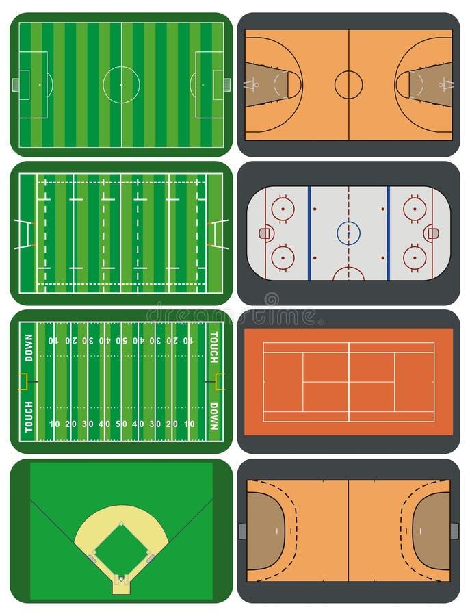 Campos e cortes de esporte ilustração do vetor