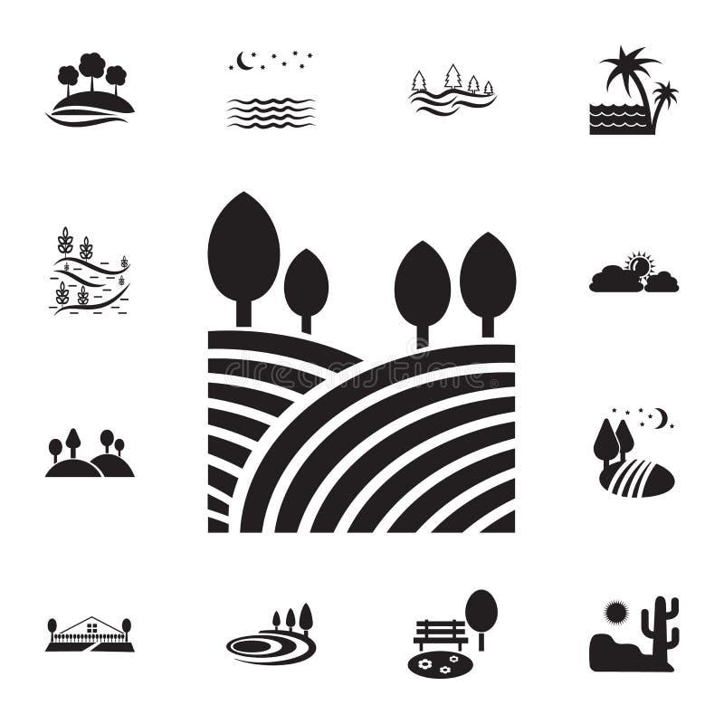 campos e icono de los árboles Sistema detallado de iconos de los paisajes Diseño gráfico superior Uno de los iconos de la colecci ilustración del vector