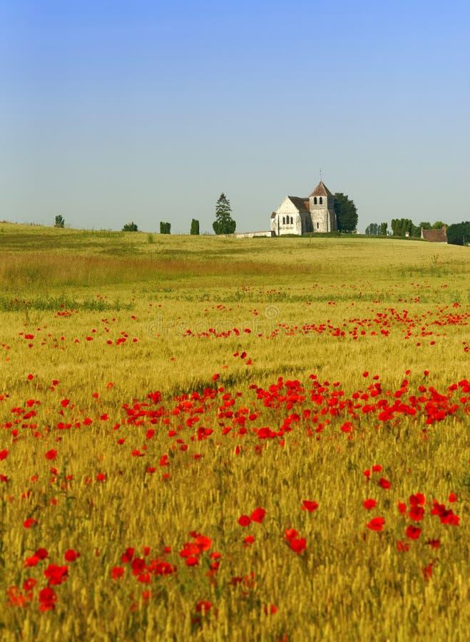 Campos e iglesia de trigo en país del Ile de France fotos de archivo