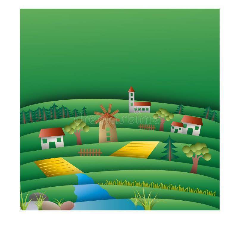 Campos e montes com molde do fundo do moinho foto de stock