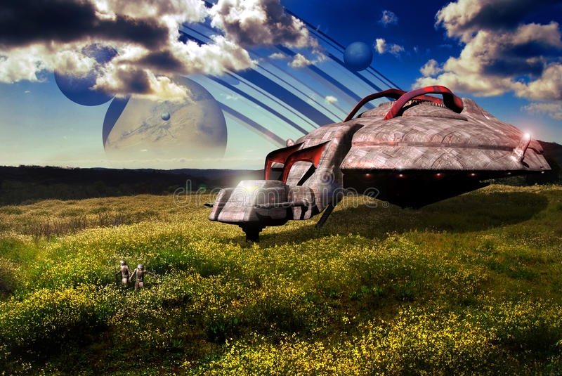 Campos em um planeta distante ilustração stock