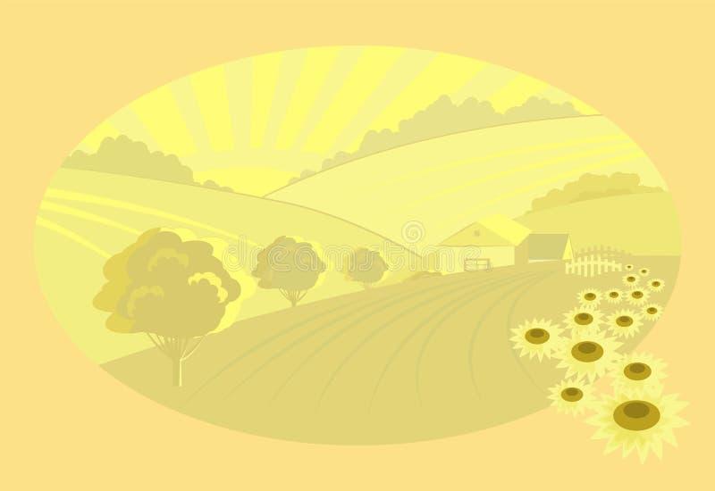 Campos sin fin con las casas y poddlnuhi libre illustration