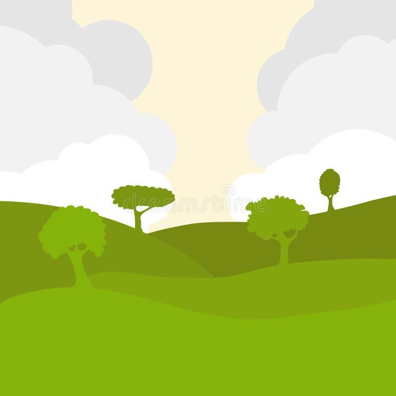 Campos verdes contra el cielo con las nubes Paisaje rural verde con los árboles ilustración del vector