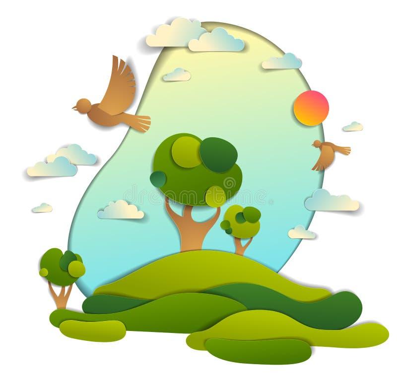 Campos verdes y paisaje escénico de los árboles del verano con BI de las nubes libre illustration