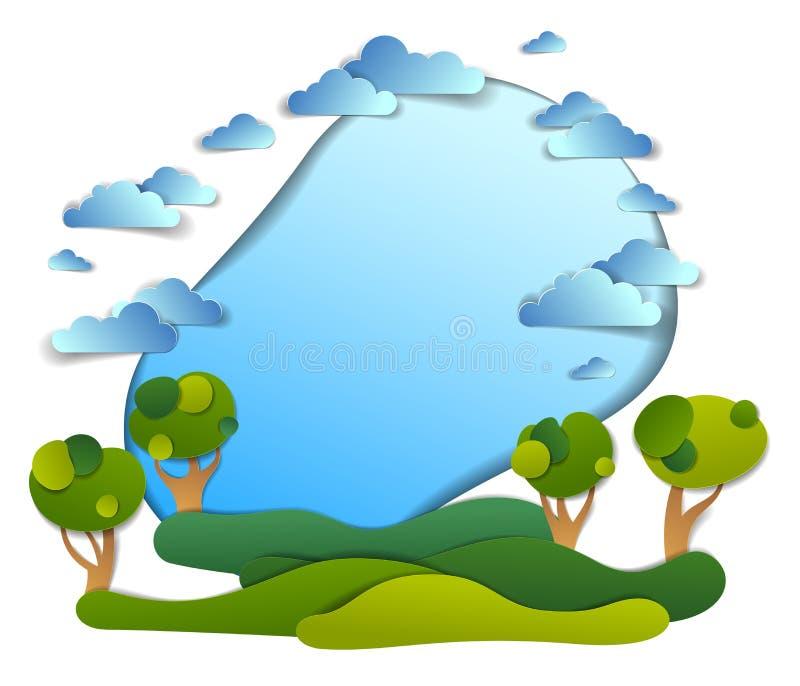 Campos verdes y paisaje escénico de los árboles del verano con las nubes adentro stock de ilustración