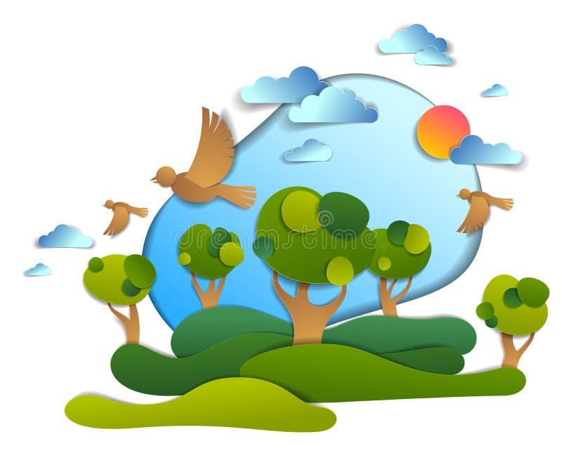 Campos verdes y paisaje esc?nico de los ?rboles del verano con los p?jaros y el sol en el cielo, ejemplo infantil de las nubes de libre illustration