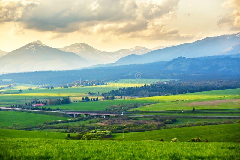 Campos y paisaje verdes pintorescos del prado Valle de la montaña de la primavera imagen de archivo