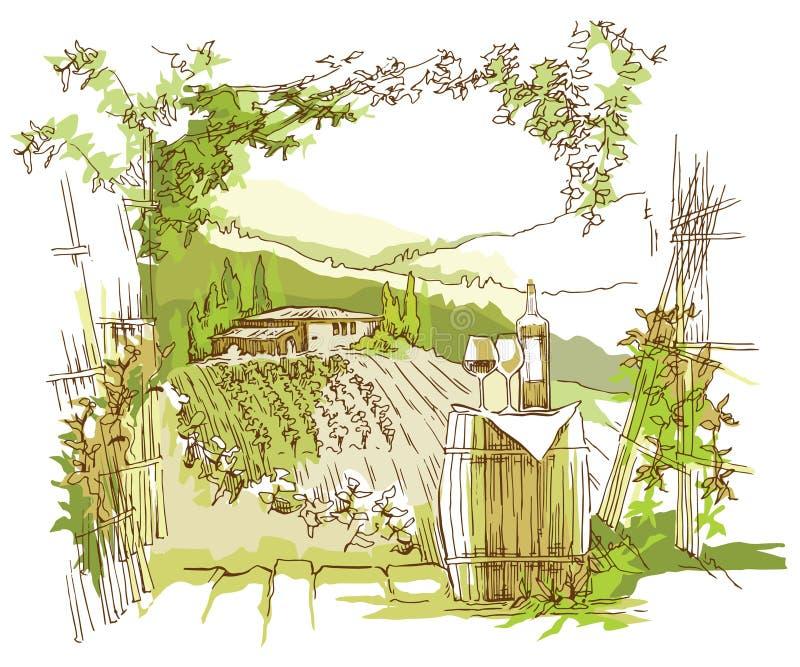 Campos y viñedos hechos a mano de la uva del bosquejo stock de ilustración