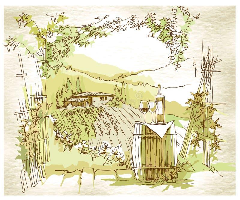 Campos y viñedos hechos a mano de la uva del bosquejo ilustración del vector