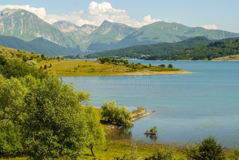 Campotosto Lake, in Abruzzi (Italy). Lake of Campotosto (L'Aquila, Abruzzi, Italy) at summer stock image