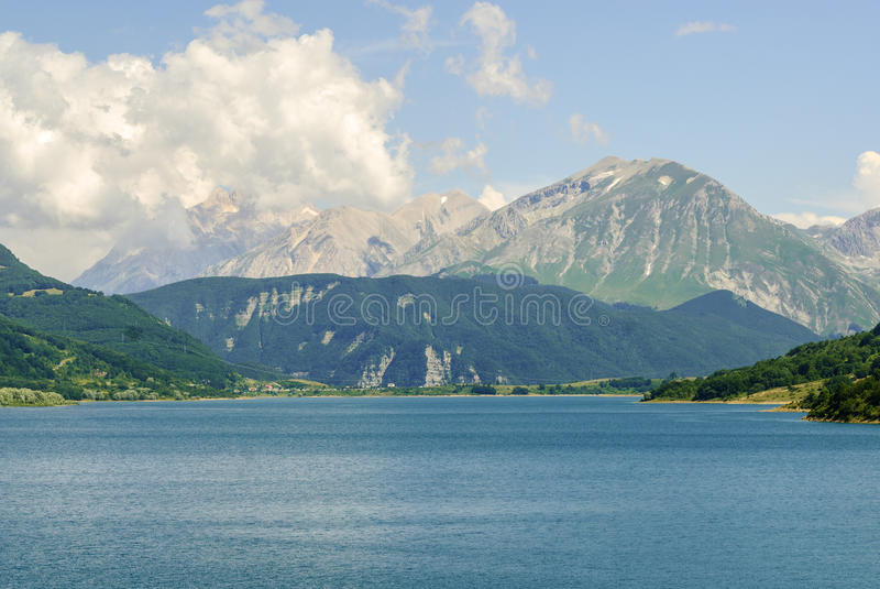 Campotosto Lake, in Abruzzi (Italy). Lake of Campotosto (L'Aquila, Abruzzi, Italy) at summer stock photos