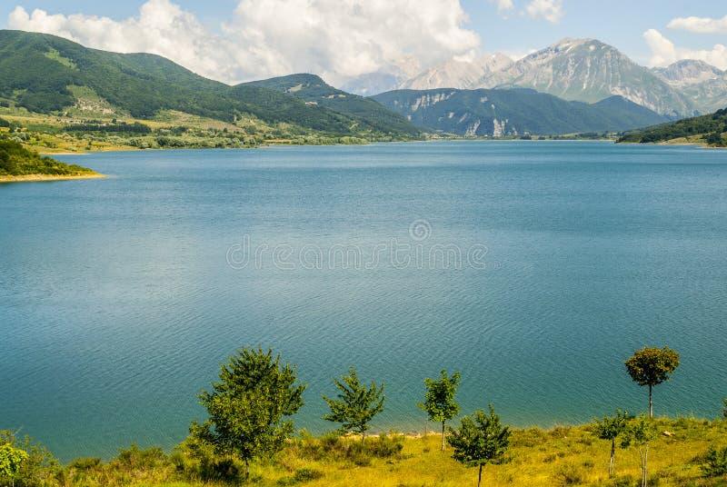 Campotosto Lake, in Abruzzi (Italy). Lake of Campotosto (L'Aquila, Abruzzi, Italy) at summer royalty free stock photo