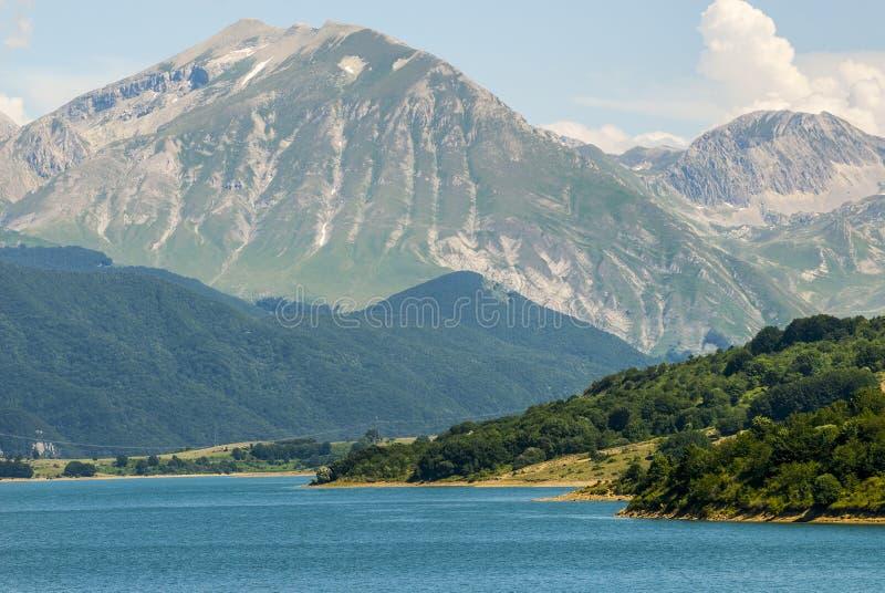 Campotosto Lake, in Abruzzi (Italy). Lake of Campotosto (L'Aquila, Abruzzi, Italy) at summer royalty free stock image