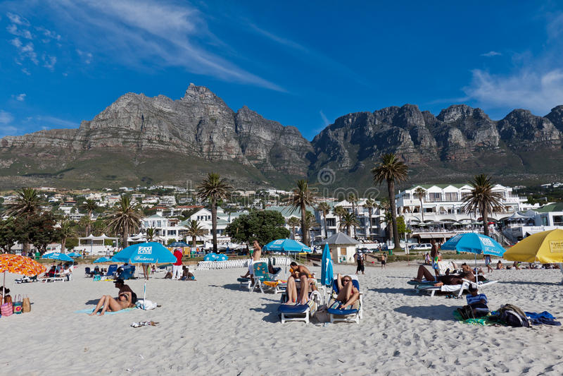 Camps Bay beach and Table Mountain stock photos