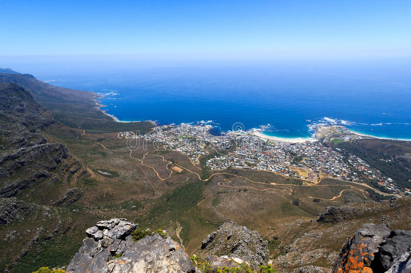 Camps Bay and Clifton panoramic view from Table Mountain stock photography