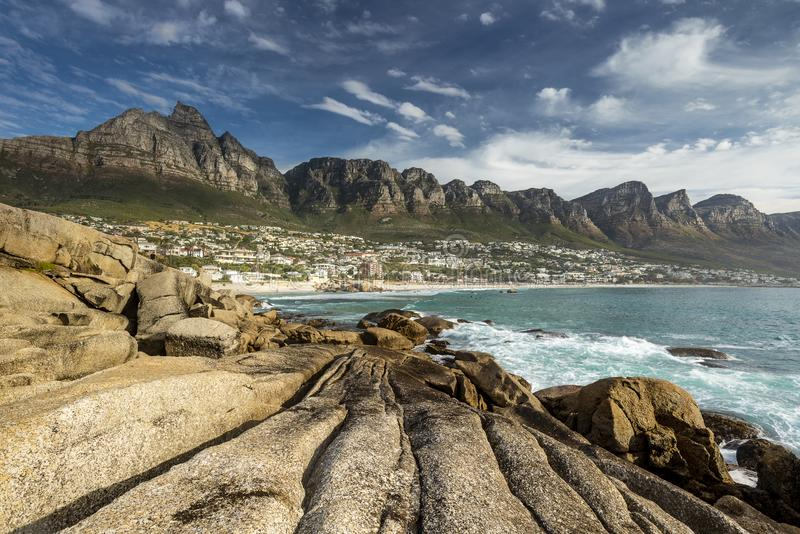 Camps Bay with the Twelve Apostles stock photos