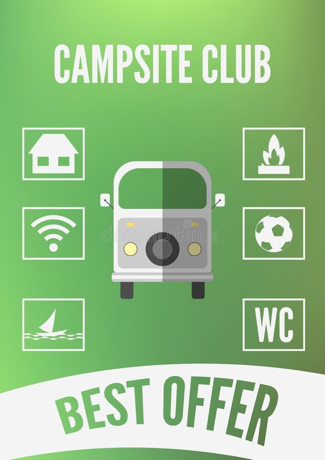 Campsite świetlicowy promocyjny infographic z retro samochodowymi i białymi ikonami Płaski projekt ilustracji
