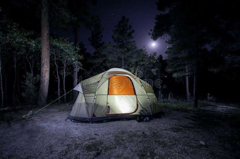 Campsite Illuminated royalty free stock photography