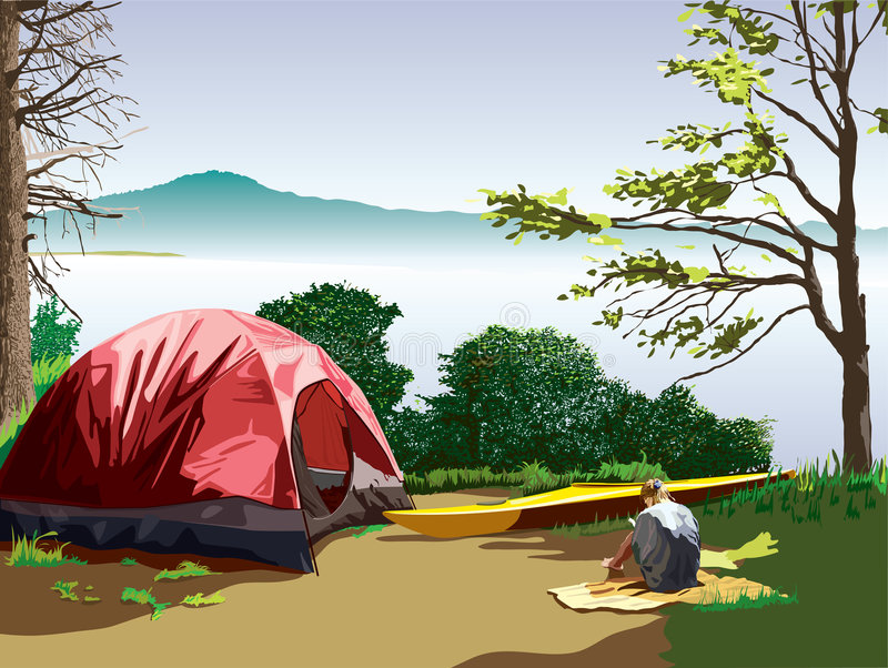 Download Campsite at Moss lake stock vector. Illustration of mountain - 8523616