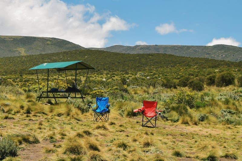 Campsite at Mount Kenya royalty free stock image