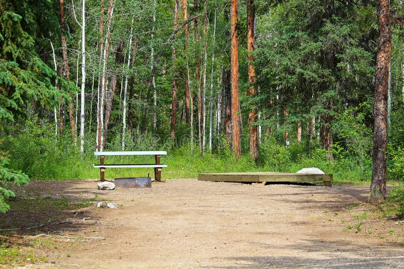 A campsite with a picnic table, fire ring and tent platform.  stock photography