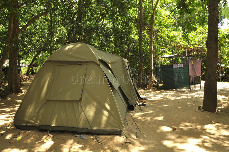 Campsite tent. Erected here as part of a temporary safari campsite in a Sri Lankan National Park stock image