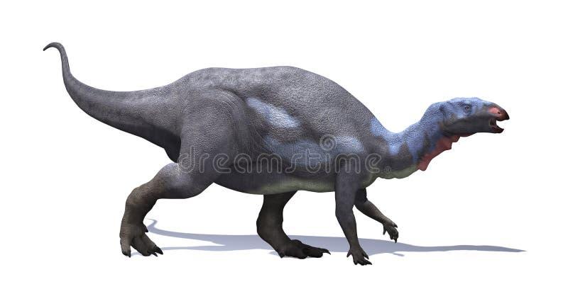 Camptosaurus Dinosaur. The camptosaurus was plant-eating, beaked ornithischian dinosaur that lived during the Late Jurassic period royalty free illustration