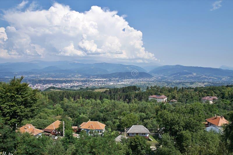 Campulung Ландшафт взгляд сверху стоковое изображение