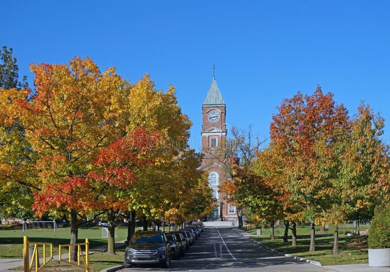 Campus de la universidad en caída fotografía de archivo