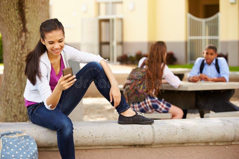 Campus femenino de la escuela de Using Phone On del estudiante de la High School secundaria fotografía de archivo libre de regalías