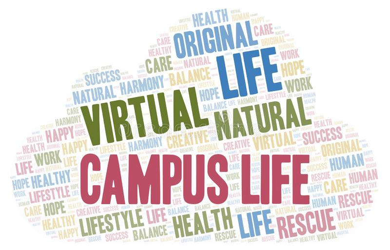 Campus Life word cloud. Wordcloud made with text only vector illustration