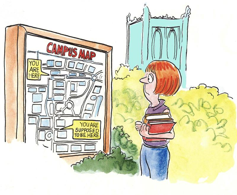 Campus Map. A female student looks at a campus map stock illustration