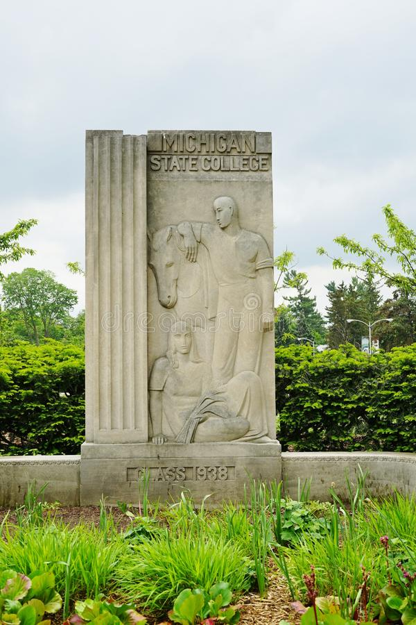 The campus of Michigan State University in East Lansing, MI. EAST LANSING, MI - Founded in 1855 as the Agricultural College of the State of Michigan, Michigan royalty free stock image