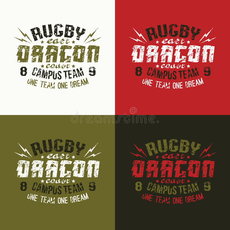 Campus rugby team emblem. Graphic design for t-shirt. Variants of a coloring vector illustration
