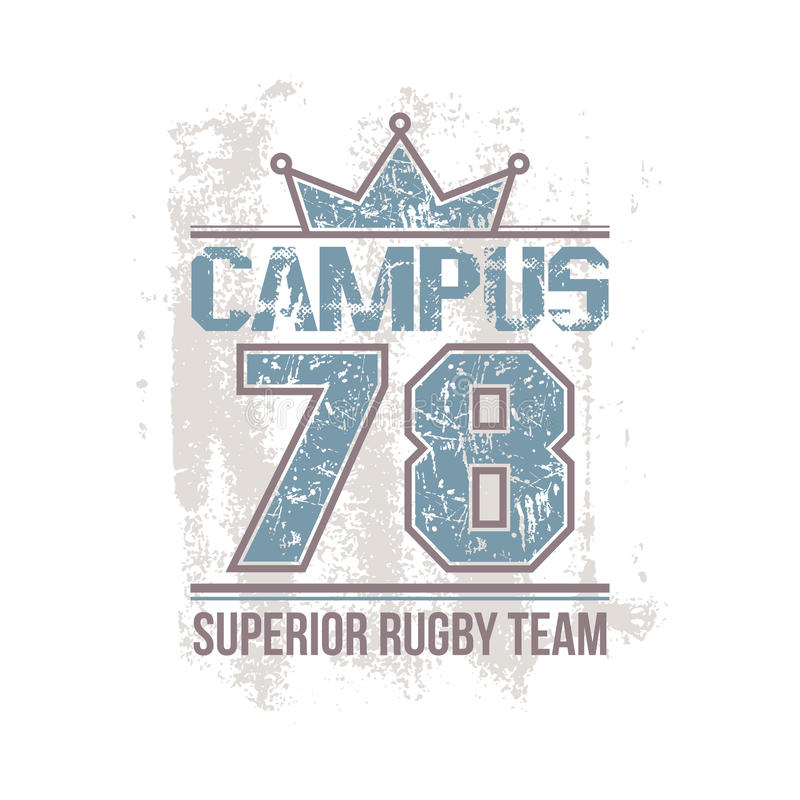 Campus rugby team emblem. In retro style. Trendy graphic design for t-shirt. Color print on a white background royalty free illustration