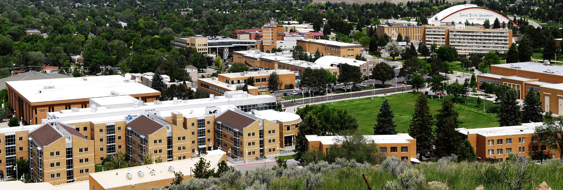 Campus superior de la universidad de estado de Idaho con Holt Arena fotos de archivo