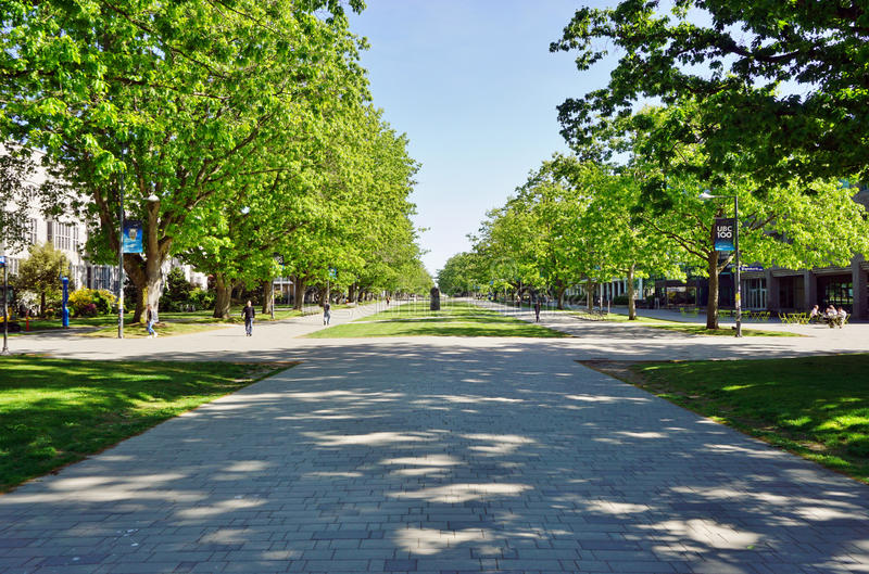The campus of the University of British Columbia (UBC). VANCOUVER, CA - Located on a beautiful peninsula at Point Grey, the University of British Columbia (UBC) stock photo