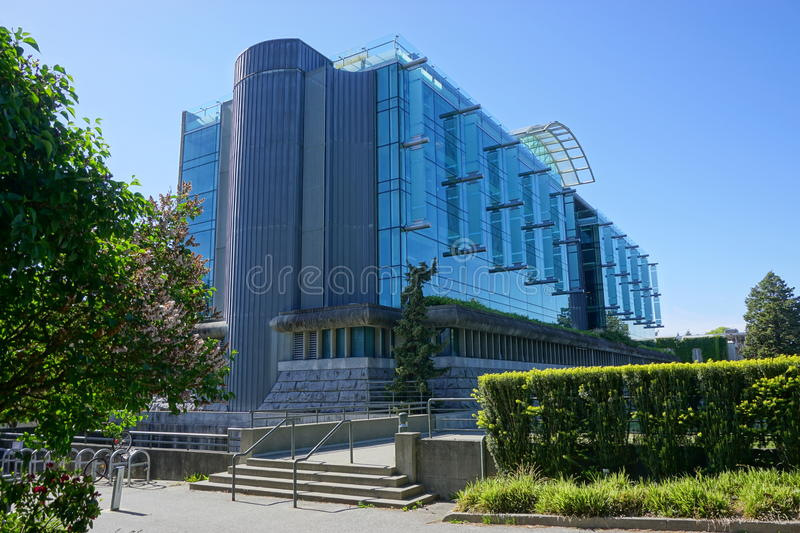 The campus of the University of British Columbia (UBC). VANCOUVER, CA - Located on a beautiful peninsula at Point Grey, the University of British Columbia (UBC) royalty free stock photos