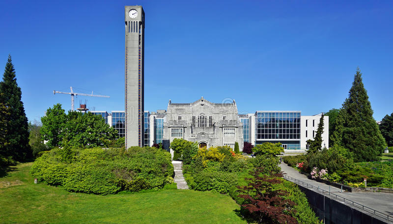 The campus of the University of British Columbia (UBC). VANCOUVER, CA -Located on a beautiful peninsula at Point Grey, the University of British Columbia (UBC) royalty free stock photos