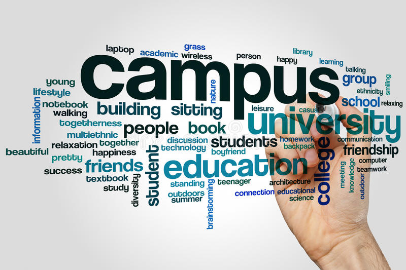 Campus word cloud. Concept on grey background royalty free stock images