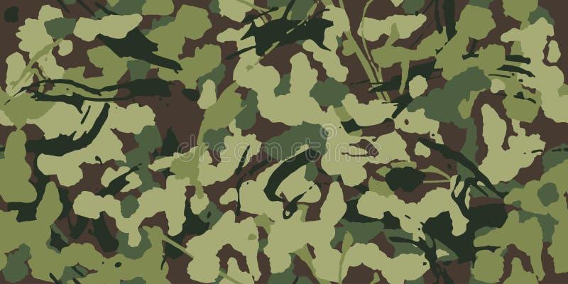 Camuflagem abstrata do grunge, teste padrão militar, exército ou caça da textura sem emenda do teste padrão da roupa verde ilustração royalty free