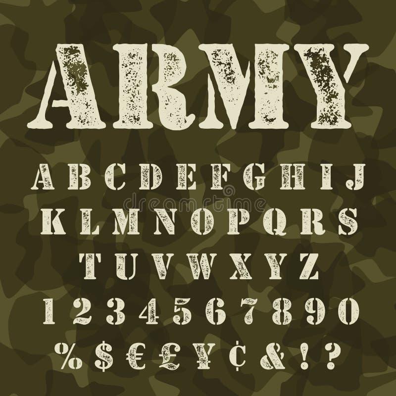 Camuflagem ajustada do alfabeto militar do estêncil ilustração stock