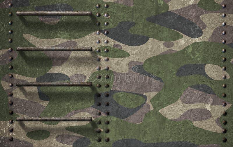 Camuflagem do exército da ilustração do fundo 3d da armadura da torreta do tanque foto de stock