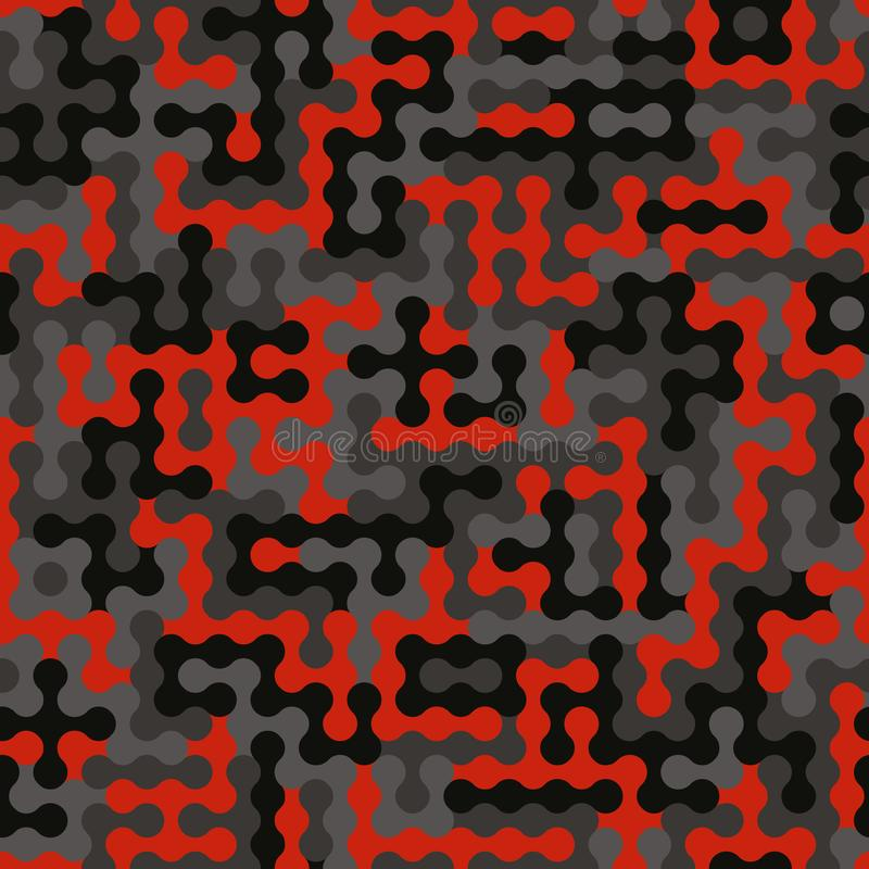 Camuflagem preto e branco vermelha da elite sem emenda com vetor militar do teste padrão da forma da malha da lona ilustração stock