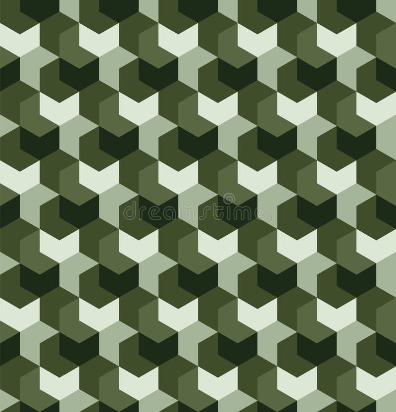 Camuflagem sem emenda no teste padrão de repetição verde simples Série poligonal do mosaico para seu projeto Vetor ilustração royalty free